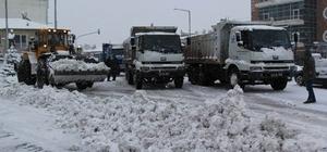 Cihanbeyli'de karla mücadele çalışmaları sürüyor