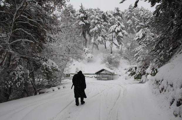 Kar, Yozgat Çamlığı Milli Parkı'nda kartpostallık görüntüler oluşturdu