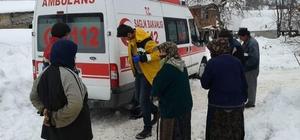 Hastaya almaya giden ambulans kara saplandı