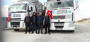 Fethiye Belediyesi'nin yardım tırları Türkmenlere ulaştı