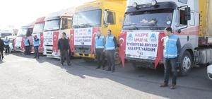 Eyyübiye Belediyesi Halep ve Şırnak'a 5 tır dolusu yardım malzemesi gönderdi