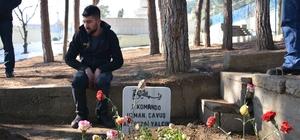 Silah arkadaşları şehit Piyade Uzman Çavuş Yalçın'ın kabrini ziyaret etti