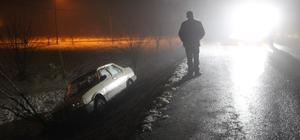 Buzlu yolda trafik kazası: 1 yaralı