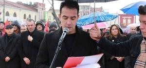 Edirne'de CHP'lilerden 'Ayağa kalkıyoruz' eylemi