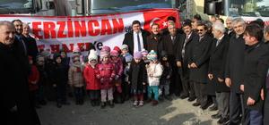 Erzincan'dan Haleplilere 33 tır yardım