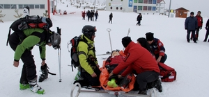 Kış sporları merkezindeki tatbikat gerçeğini aratmadı
