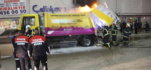 Adana'da çöp kamyonunda yangın