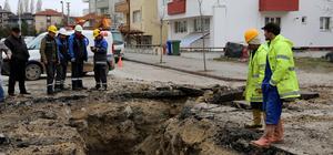 Bolu'da altyapı çalışmasında doğalgaz borusu patladı