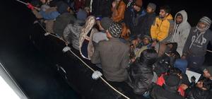 Motorlu lastik botta 56 kaçak göçmen yakalandı
