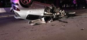 Ters dönen araçta sıkışan sürücüyü itfaiye ekipleri kurtardı