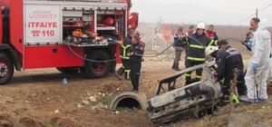 Gaziantep'te devrilen otomobil yandı: 3 ölü