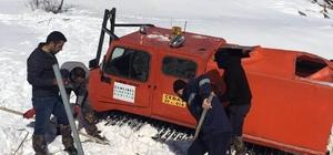 Arızaya giderken mahsur kalan ÇEDAŞ ekiplerini arkadaşları kurtardı