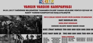Eskigediz'de evleri yanan aileler için yardım kampanyası