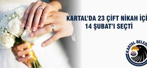 Kartal'da 23 çift nikah için 14 Şubat'ı seçti