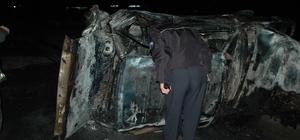 Kaza yapan otomobilde yanarak öldü