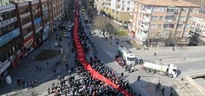 Dev Türk Bayrağı ile Cumhurbaşkanı Erdoğan'a 'evet' desteği
