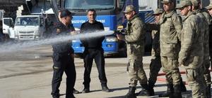 Bozüyük Belediyesi itfaiye ekiplerinden askerlere yangın eğitimi