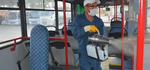 Şehir içi toplu ulaşım araçları dezenfekte edildi