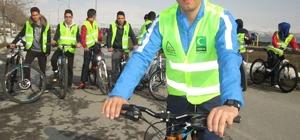Van Gölü sahilinde bisiklet etkinliği