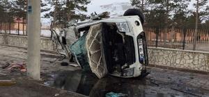 Freni boşalan tır otomobile çarpıp yan yattı: 4 yaralı
