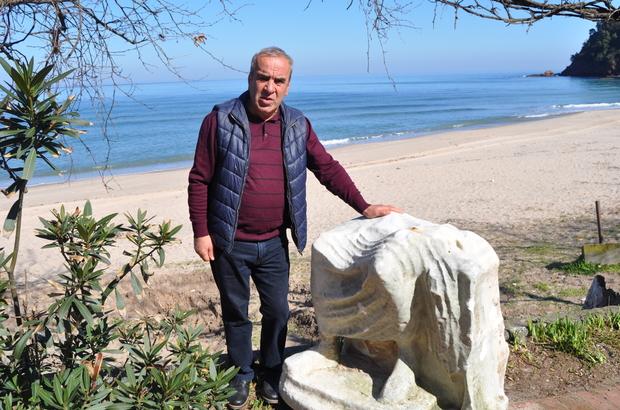 Denizden heykel parçası çıktı