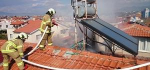 Burhaniye'de korkutan baca yangını