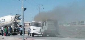 Karatay Belediyesi'nin çöp kamyonu yandı