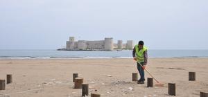 Kızkalesi sahilleri yaza hazırlanıyor