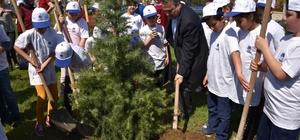 Başkan Çerçi minik bahçıvanlarla fidan dikti