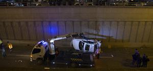 Ankara'da otomobil köprüden düştü: 3 yaralı