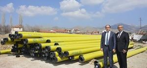 Sandıklı'ya gelecek olan doğalgazın alt yapısında kullanılacak boruların ilk partisi geldi