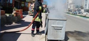 Konteyner yangını trafiği tehlikeye düşürdü
