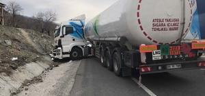 LPG tankeri bariyerlere çarptı
