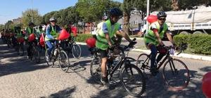 Bisikletçiler kalp sağlığı için pedallara bastı