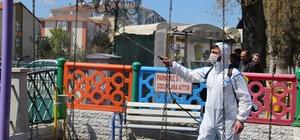 Çankırı'daki parklara dezenfektanlı bakım