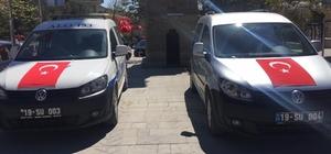 Sungurlu belediyesi araçları bayraklarla donatıldı