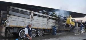 Mersin'de park halindeki kamyonda yangın