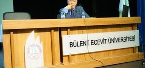 """Yazar Oğuz Demiralp BEÜ'de  """"Okuma Deneyimleri"""" başlıklı bir konferans verdi"""