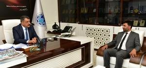 MHP Battalgazi İlçe Başkanı Mesut Samanlı ilk ziyaretini Başkan Gürkan'a yaptı