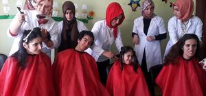 Bingöl'de engelli öğrencilere saç bakımı