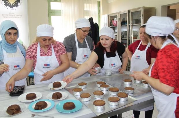 Edirne'de engelli ailelerine pasta dersi