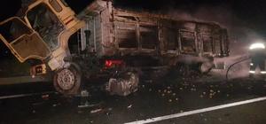 Otomobil kamyona çarptı, kamyon alev aldı