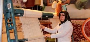Erzurumlu kadınların ellerinde nakış nakış işlenen Hereke halıları Türkiye'ye pazarlanıyor
