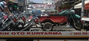 Yasak yere park edilen motosikletlere ceza kesildi