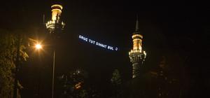 Bursa'nın ilçelerinde minareler mahyalarla süslendi