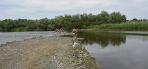 Çeltik arazilerini korumak amacıyla nehre set çekildi