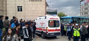 Otobüsten tekerine ayağı sıkışan kadın yaralandı