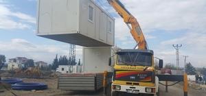 Samsat'ta konteyner kurulumu çalışmaları hızla devam ediyor