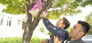 Öğrenciler kuşlar için ağaçlara yuva yaptı