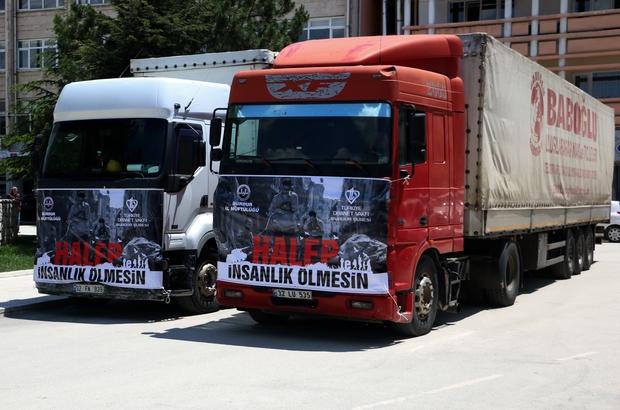 Burdur'dan Suriye'ye 2 tır un gönderildi